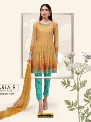 Maria B Latest Suit Yellow SF-1590 Embroidered Chiffon Collection Replica