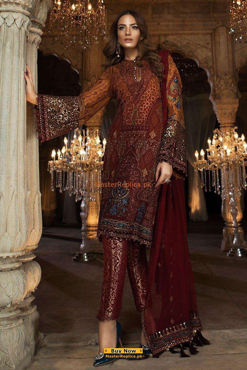 MARIA B Luxury Rust & Maroon (BD-1407) Embroidered Chiffon Collection Replica