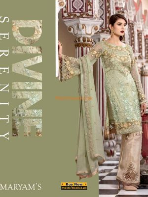 MARYAM'S Luxury Divine Serenity Embroidered Chiffon Collection Replica