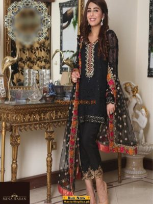 MINA HASSAN Luxury Embroidered Chiffon Collection Replica