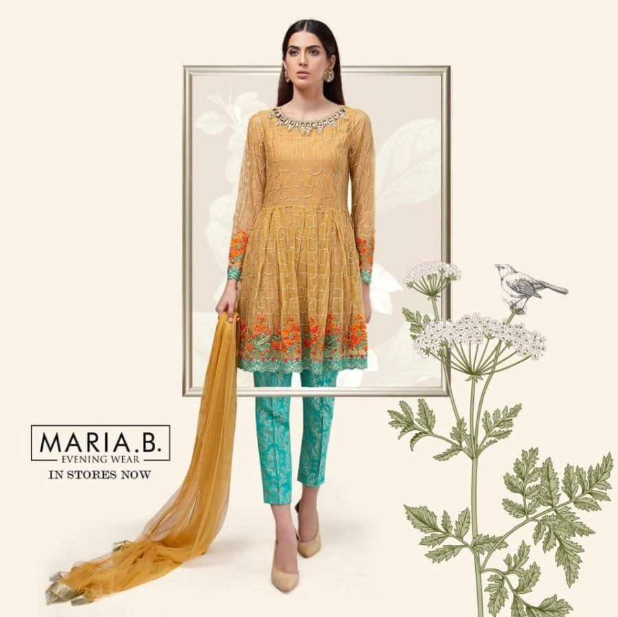 Maria B Luxury Suit Yellow SF-1590 Embroidered Chiffon Collection Replica