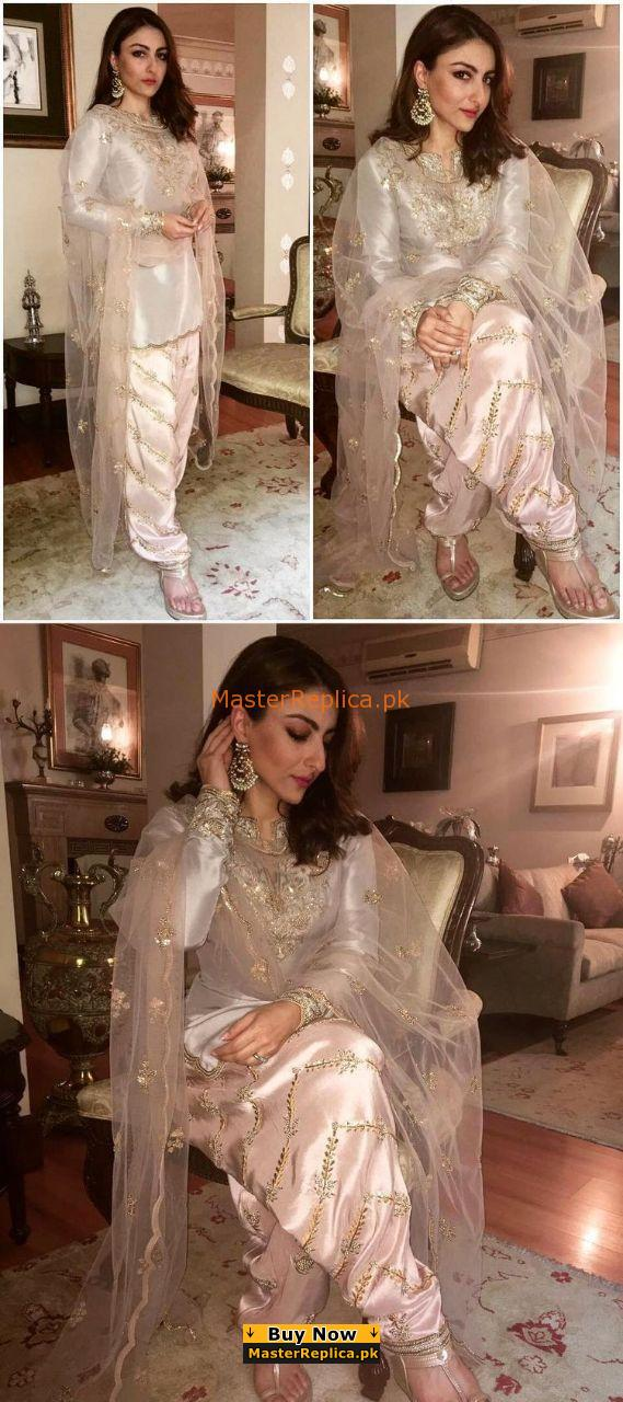 SOHA ALI Luxury Latest Embroidered Silk Collection Replica