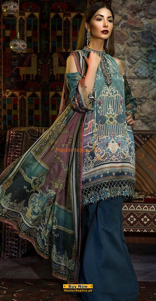 Maria B Latest Silk MSK-103-Grey Blue Printed Silk Collection Replica