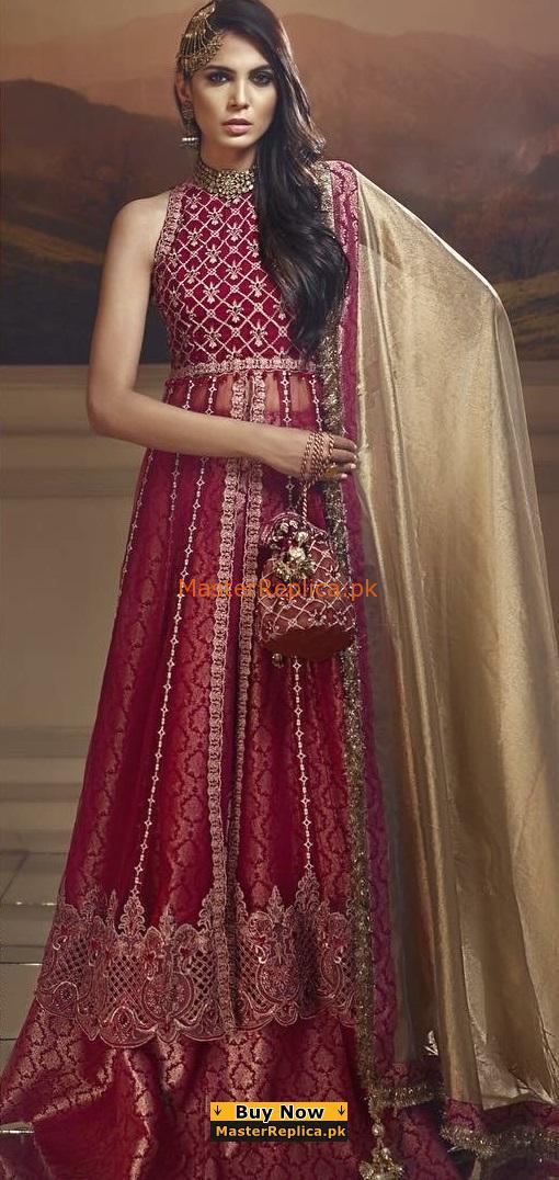 ANAYA Luxury SCARLET BLUSH Embroidered Bridal Chiffon Collection Replica