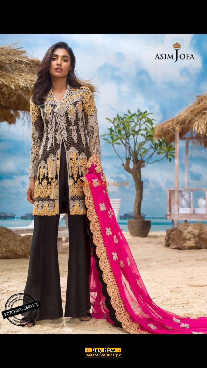 ASIM JOFA ALC-2B Luxury Embroidered Chiffon Collection Replica
