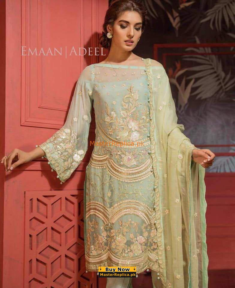 EMAAN ADEEL Luxury Embroidered Chiffon Collection Replica