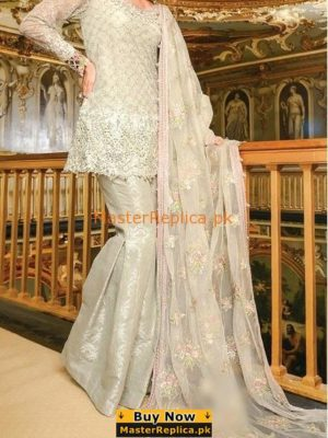 MARIA B. LUXURY EMBROIDERED NET COLLECTION-18 REPLICA|MOON LIGHT & PINK (BD-1206) REPLICA