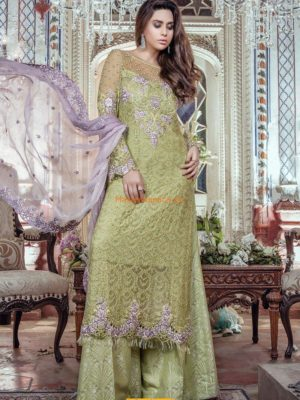 MARIA B Latest Apple Green & Lilac (BD-1105) Embroidered Chiffon Collection Replica