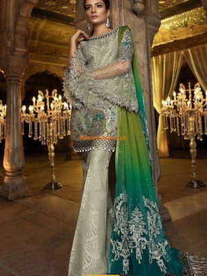 Maria B Luxury Steel & Peacock Green (BD-1406) Embroidered Net Collection Replica