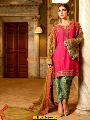 MARIA B LUXURY EMBROIDERED LINEN COLLECTION FUSCHIA PINK (BD-1207) REPLICA