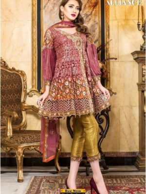 MARYAM'S Luxury Floral Alliance Embroidered Chiffon Collection Replica