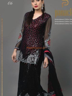 Panache Haut Luxury Black Rose Embroidered Net Collection Replica