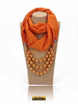 Orange scarf with Necklace