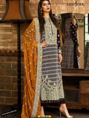 ASIM JOFA Luxury AJ-4A Embroidered Chiffon Collection Replica