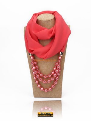 baby pink scarf with necklace
