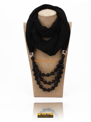 Black scarf with Necklace