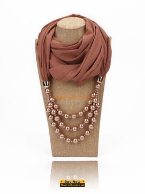 cinnamon scarf with necklace