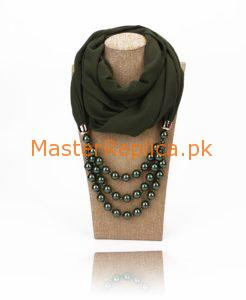 Fern Green scarf with necklace