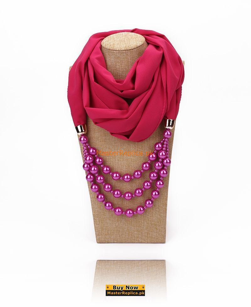 hot pink scarf with Necklace