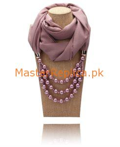 mauve scarf with Necklace