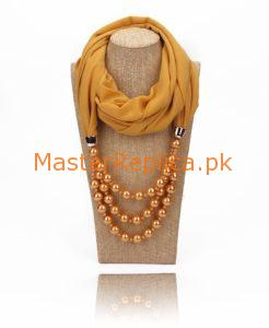 Mustard scarf with Necklace
