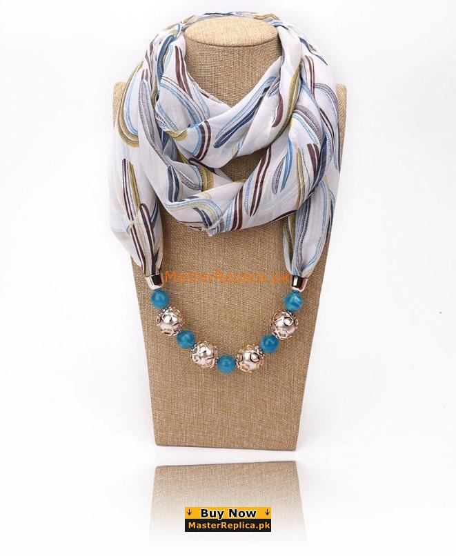 multi color blend scarf with necklace
