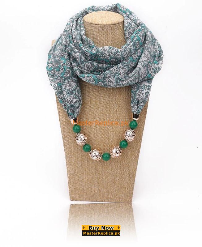 printed multi color scarf with Necklace