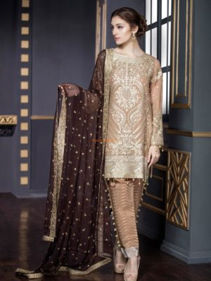 Mariyam&Maria Luxury CARAMEL BROWN (FMM-206) Embroidered Chiffon Replica