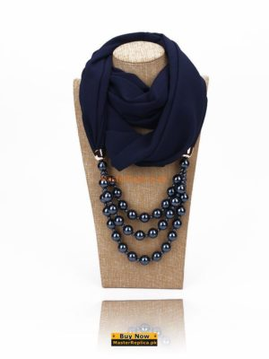 royal blue scarf with Necklace