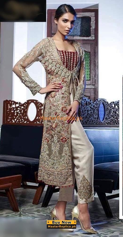 ALIZA WAQAR Luxury Embroidered Wedding Collection Net Replica