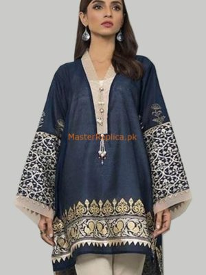 DESIGNER LUXURY EMBROIDERED DENIM KURTI COLLECTION 2018 REPLICA