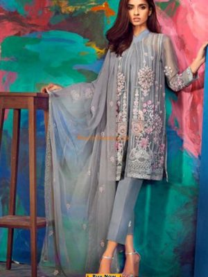 GUL AHMED Luxury Grey Blended EA-44 Embroidered Chiffon CGUL AHMED Luxury Grey Blended EA-44 Embroidered Chiffon Collection Replicaollection Replica