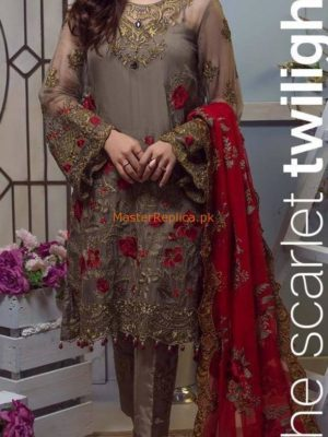 Imrozia Luxury The Scarlet Twilight Embroidered Chiffon Collection Replica