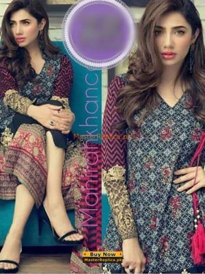 MAHIRA KHAN Latest Embroidered Cotton Collection Replica