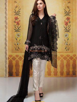 MARIA B Luxury Embroidered Black SF-1637 Chiffon Collection Replica
