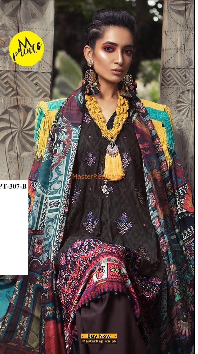 Maria B Latest MPT-307-B-Black Embroidered Linen Collection Replica