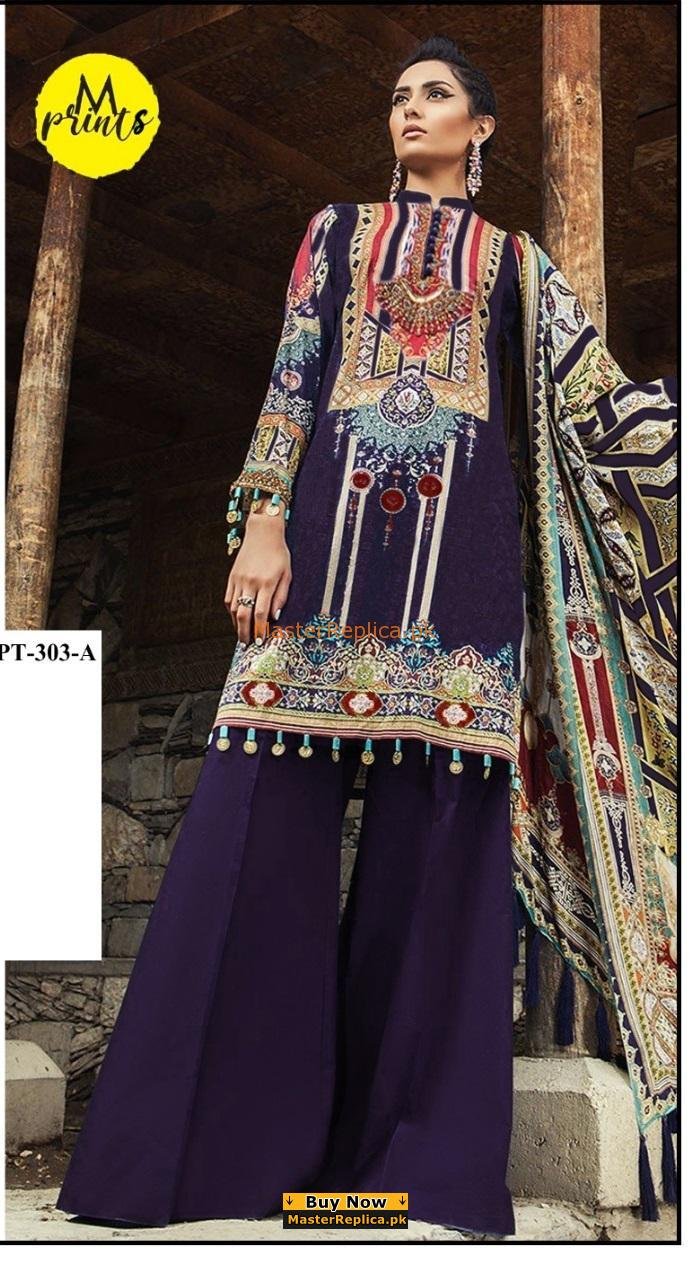 Maria B Luxury Embroidered MPT-303-A-Blue Linen Collection Replica