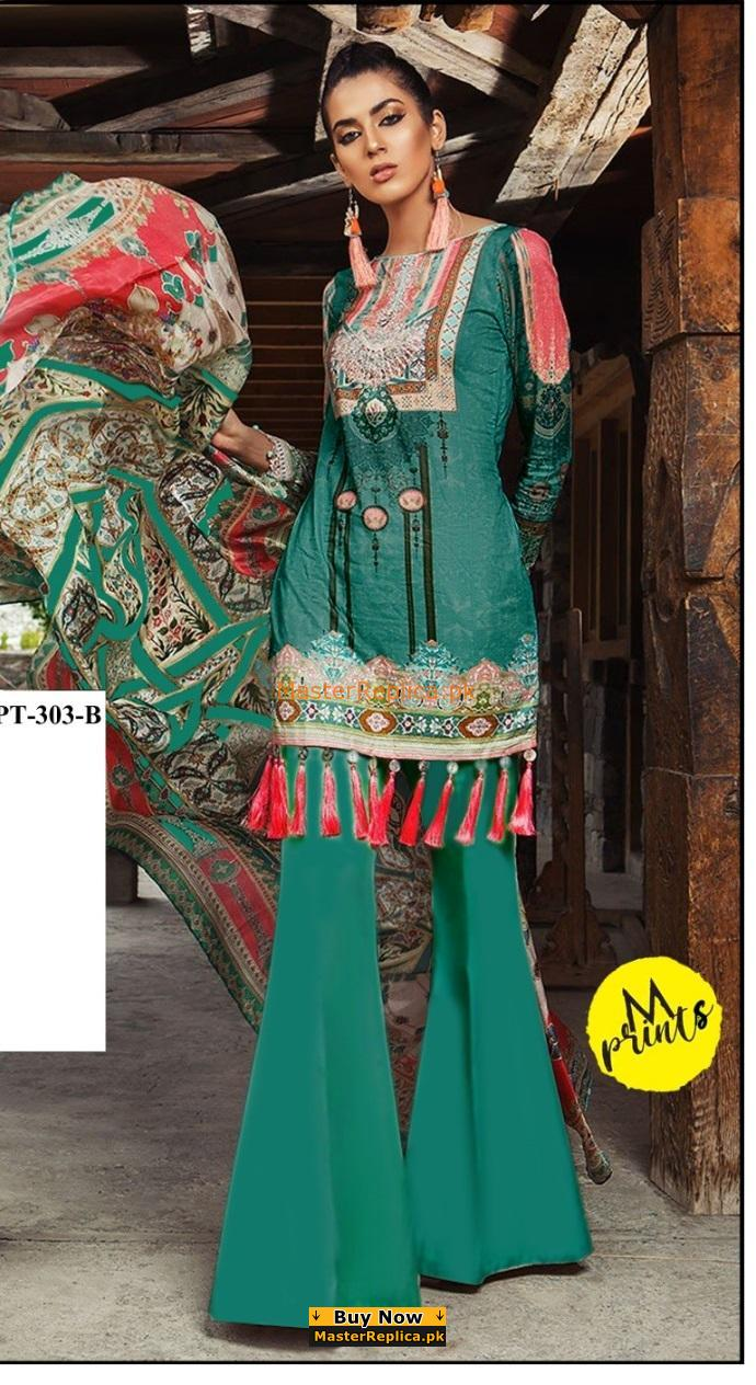 Maria B Luxury Embroidered MPT-303-B-Sea Green Linen Collection Replica