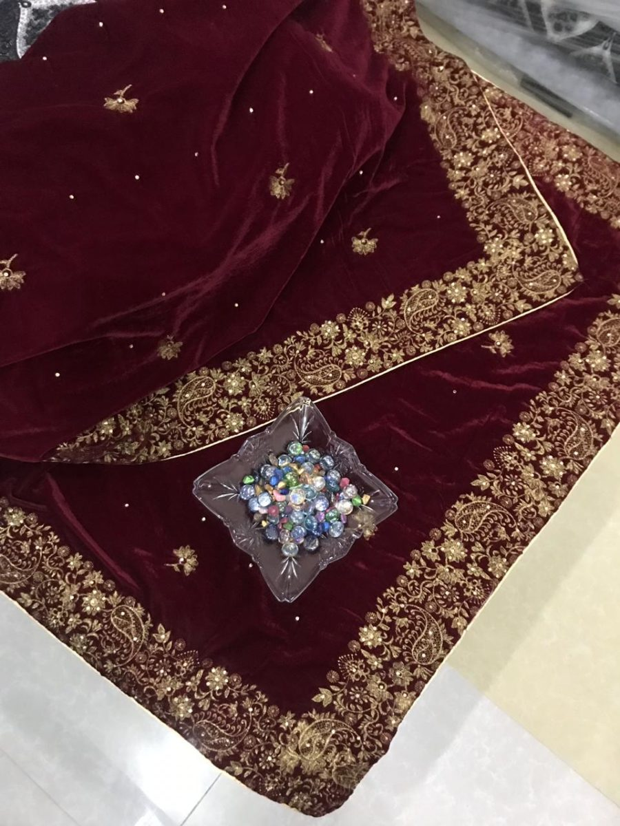 Luxury Embroidered Maroon Velvet Shawl Collection 2018