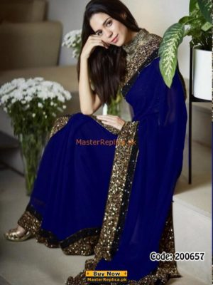 MYNTRA Luxury Embroidered Royal Blue Chiffon Collection Saaree Replica