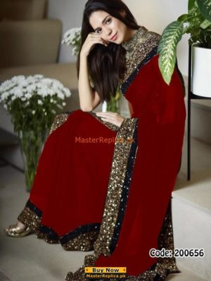 MYNTRA Latest Embroidered Chiffon Collection Saaree Replica