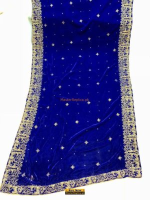 LUXURY EMBROIDERED WINTER VELVET NAVY BLUE SHAWL COLLECTION