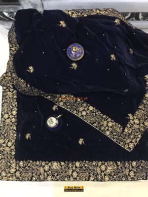 Luxury Embroidered Navy Blue Shawl