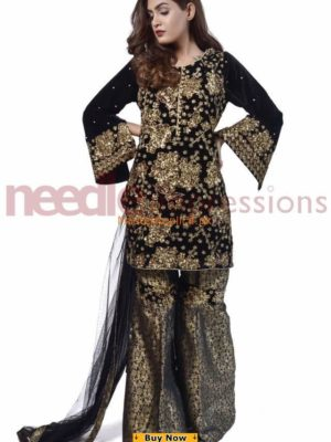 NEEDLE IMPRESSIONS Luxury Embroidered Latest Velvet And Net Collection Replica