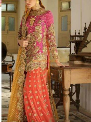 NOMI ANSARI Luxury Embroidered Bridal Chiffon Collection Replica