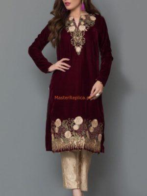 Panache Latest Embroidered Winter Velvet Original Kurti Collection