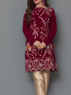 Panache Luxury Embroidered Party Wear Winter Velvet Original Kurti