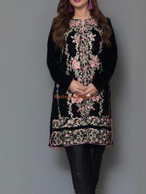 Panache Luxury Embroidered Black Velvet Original Kurti Collection