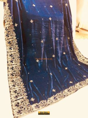 LUXURY EMBROIDERED WINTER VELVET ROYAL BLUE SHAWL COLLECTION