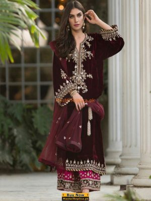 SANA ABBAS Luxury Embroidered Winter Velvet Collection Replica